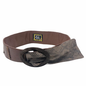 Chi M Belts Leather & Snakeskin Brown Gold Gray